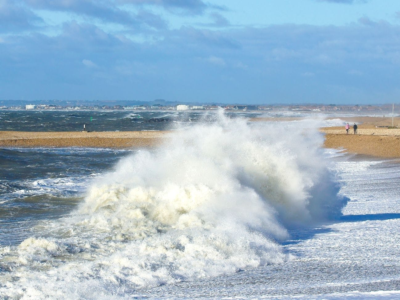 Waves crashing on the beach at Selsey