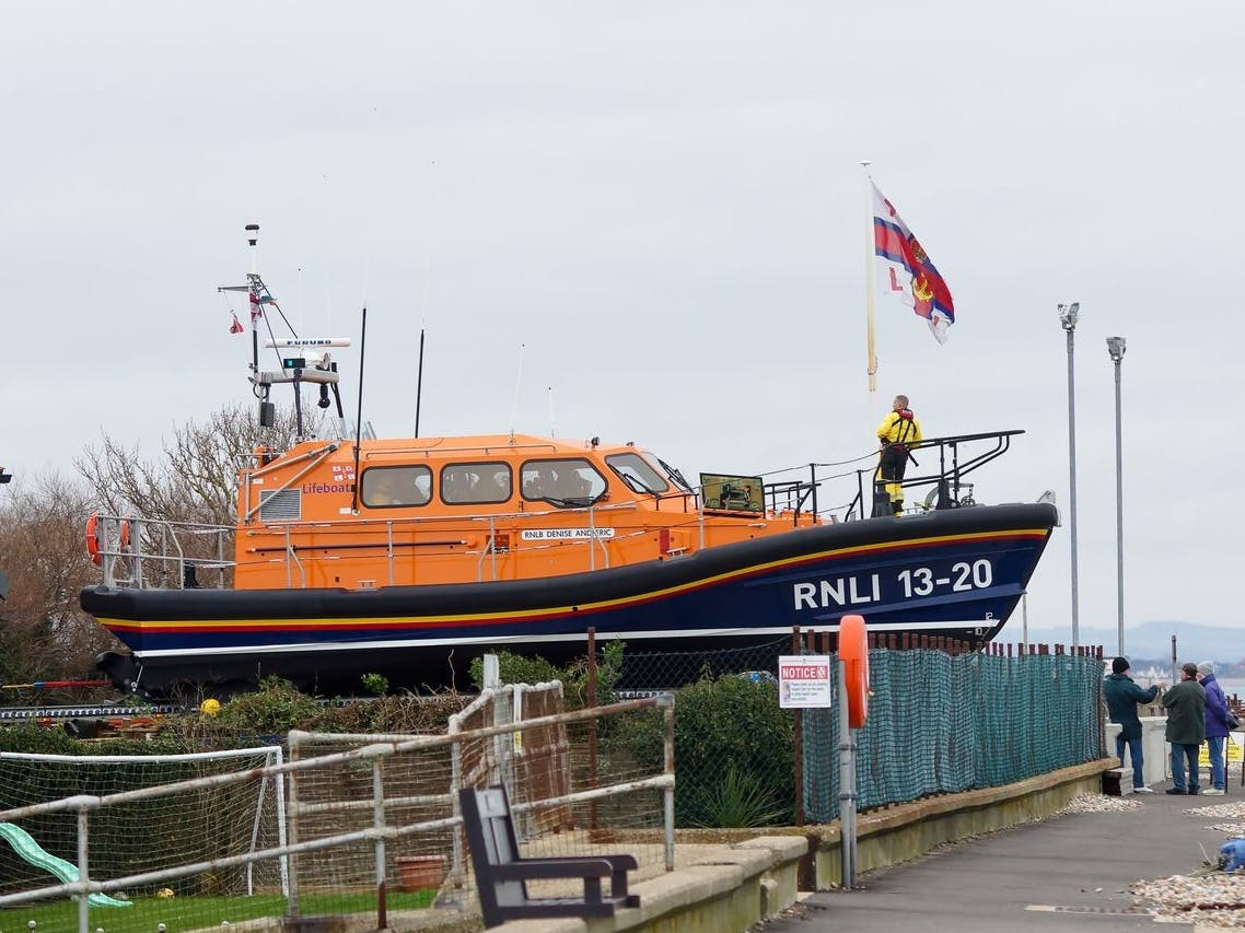 Lifeboat at Selsey infront of the Lifeboat station at Selsey
