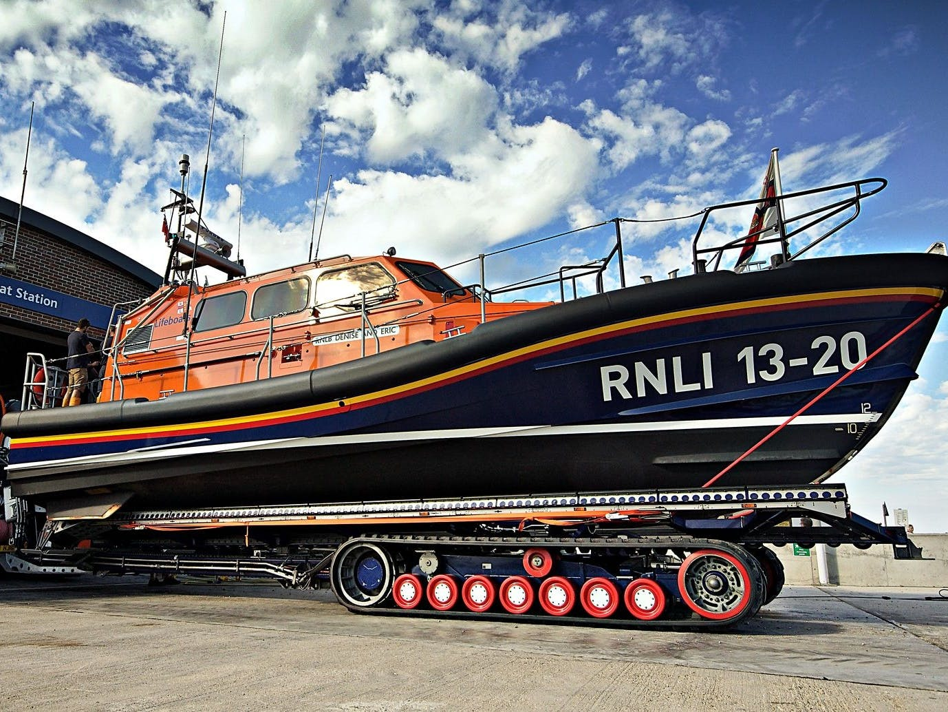 Selsey's Lifeboat outside the lifeboat station at RNLI Selsey