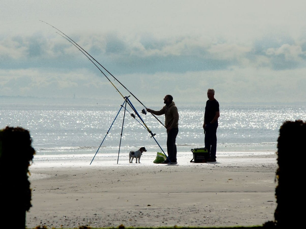 Sea anglers at West Beach