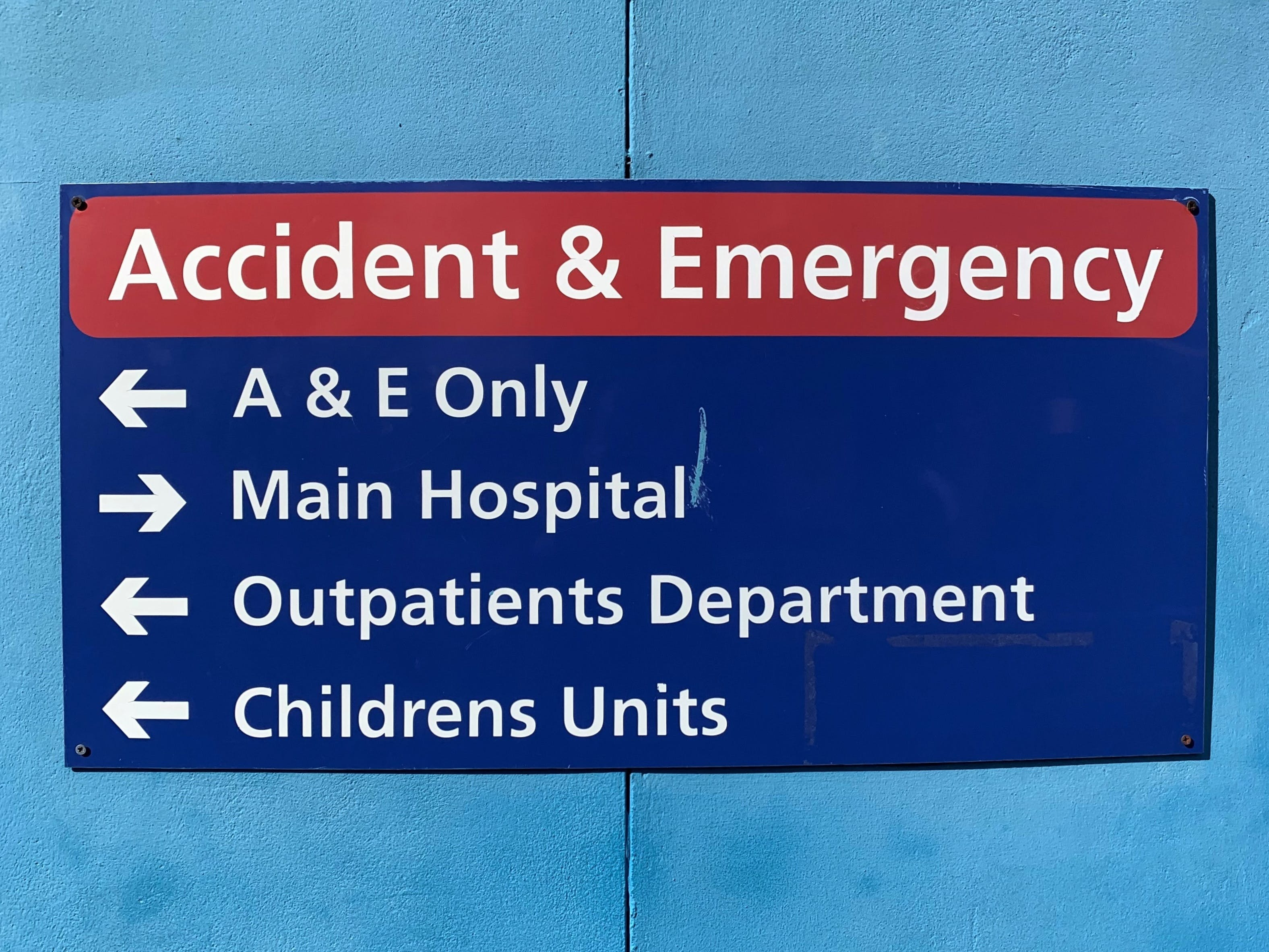 St Richard's Hospital Accident and Emergency sign