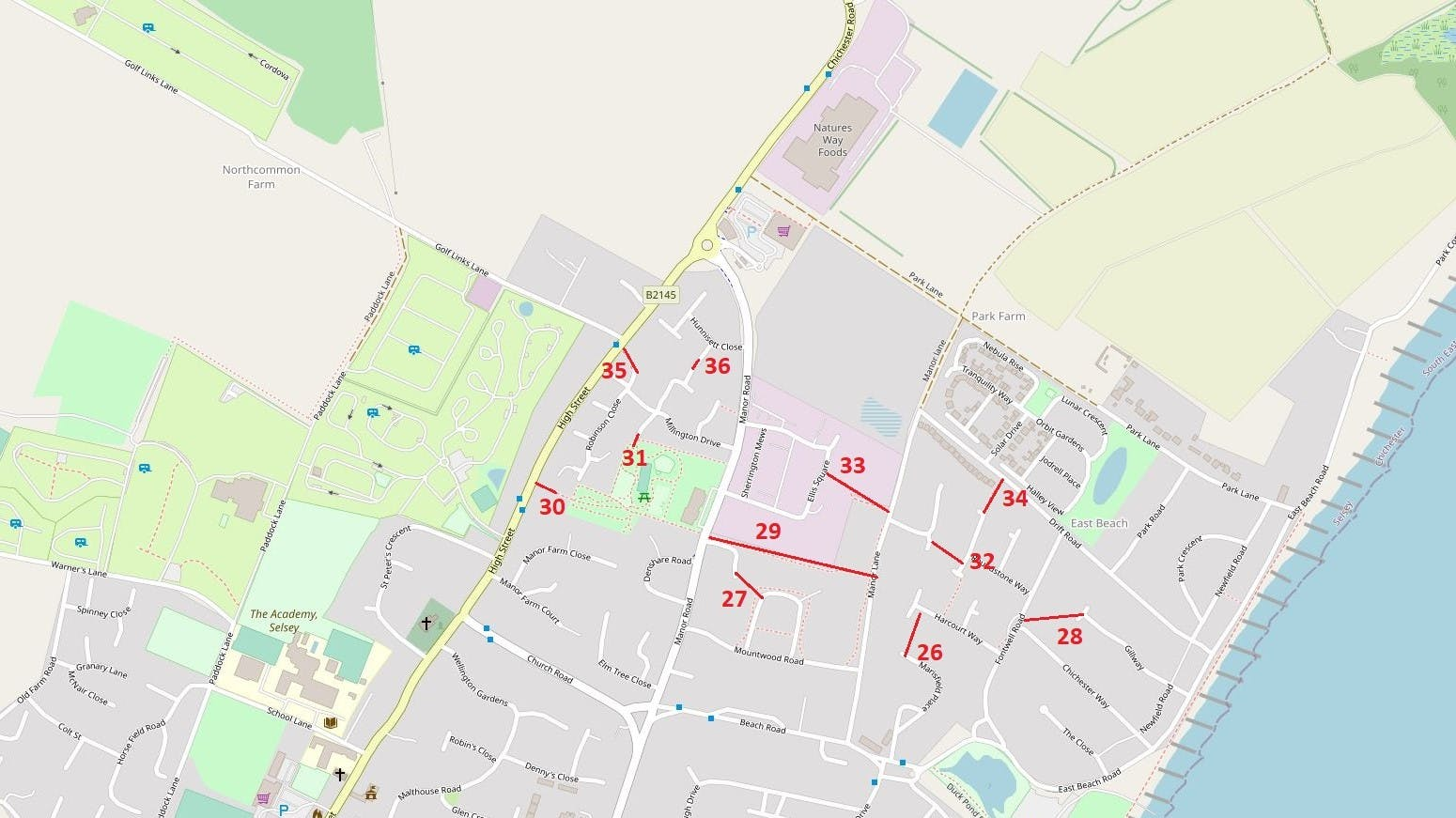 Map showing numbered footpaths in Selsey