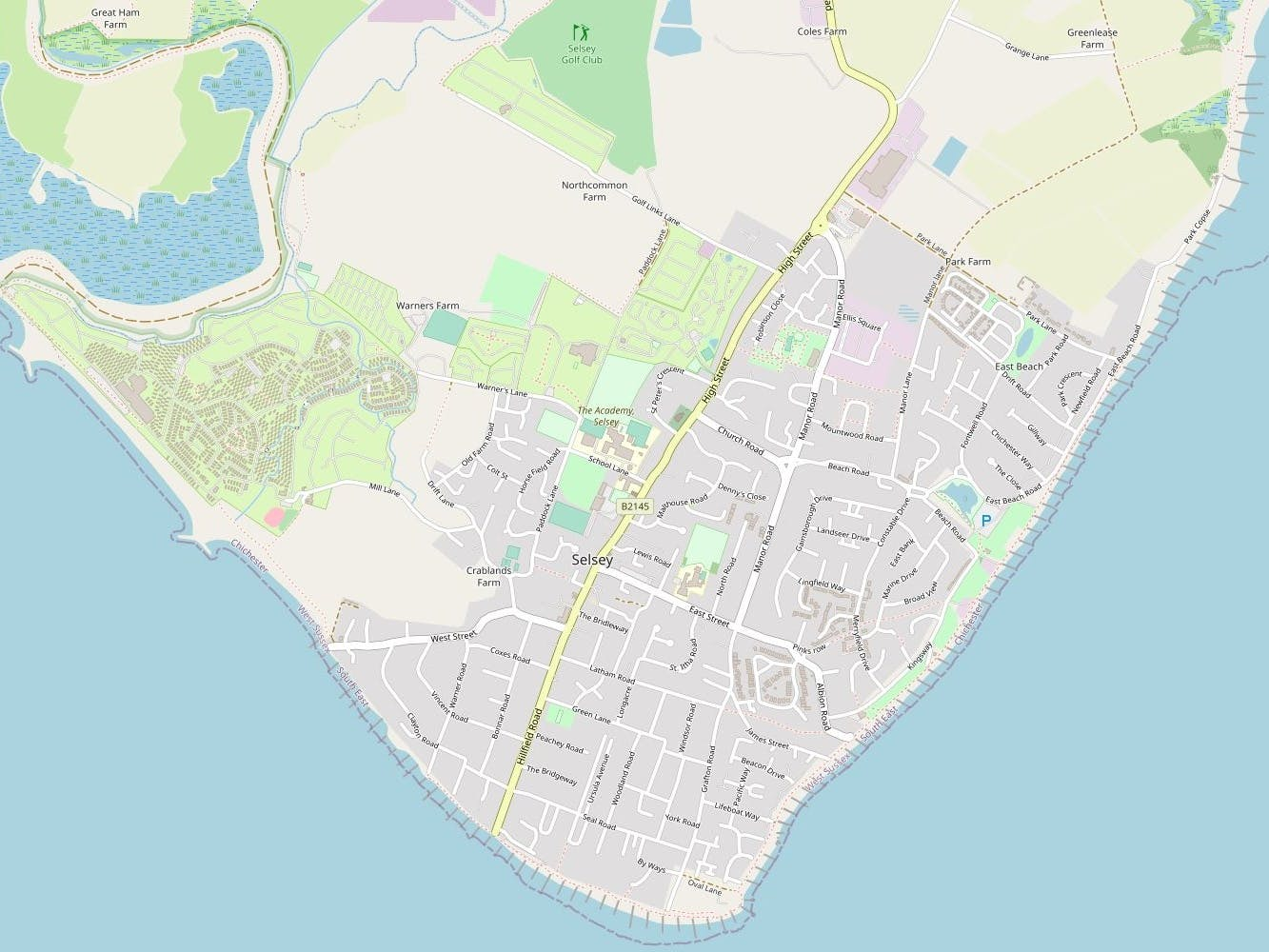 Road map showing all of Selsey, West Sussex