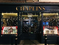 Chaplins Coffee House external image dressed in christmas lights and sculptures