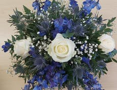 Gorgeous display of white and blue flowers