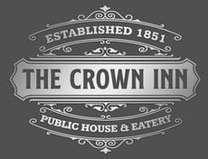 logo of The Crown Inn, stating that it was established in 1851 and is a public house and eatery