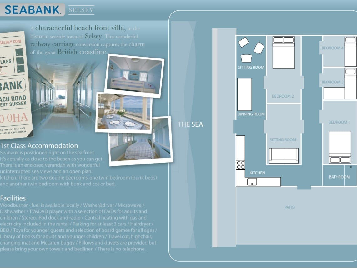 This shows the layout plan of Seabank and information about its accommodation and facilities