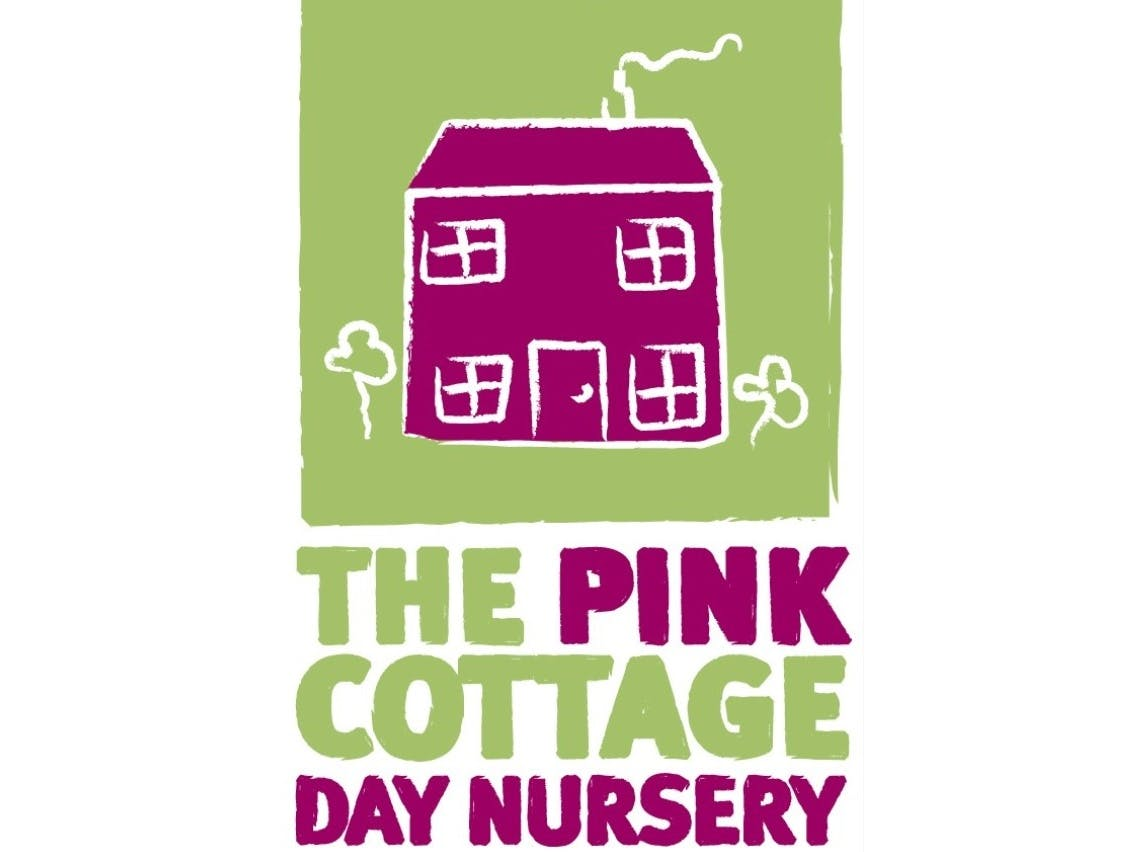 Logo for the Pink Cottage Day Nursery with a child like image of a pink house and trees with a lime green background