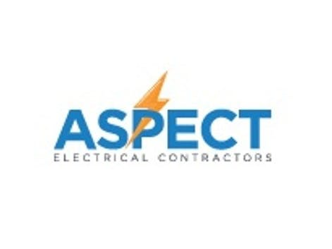 Logo of electrical contractors logo predominately blue with a lightning bolt through the P of aspect