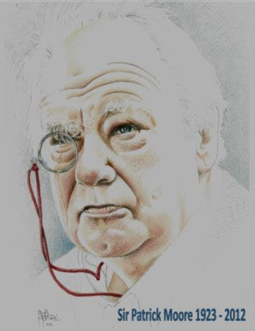 A drawing of Sir Patrick Moore with famour monacle in place