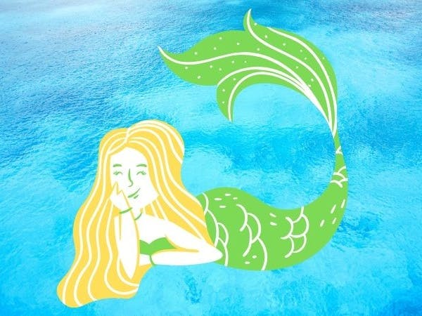 Illustration of  mermaid with golden hair and a green tail