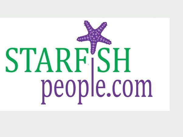 Starfish People logo made up of green and purple writing with a purple starfish