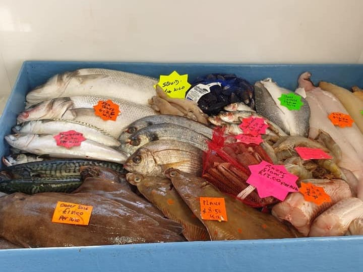 A range of fresh fish from plaice to razor clams sold at Julie's in Selsey
