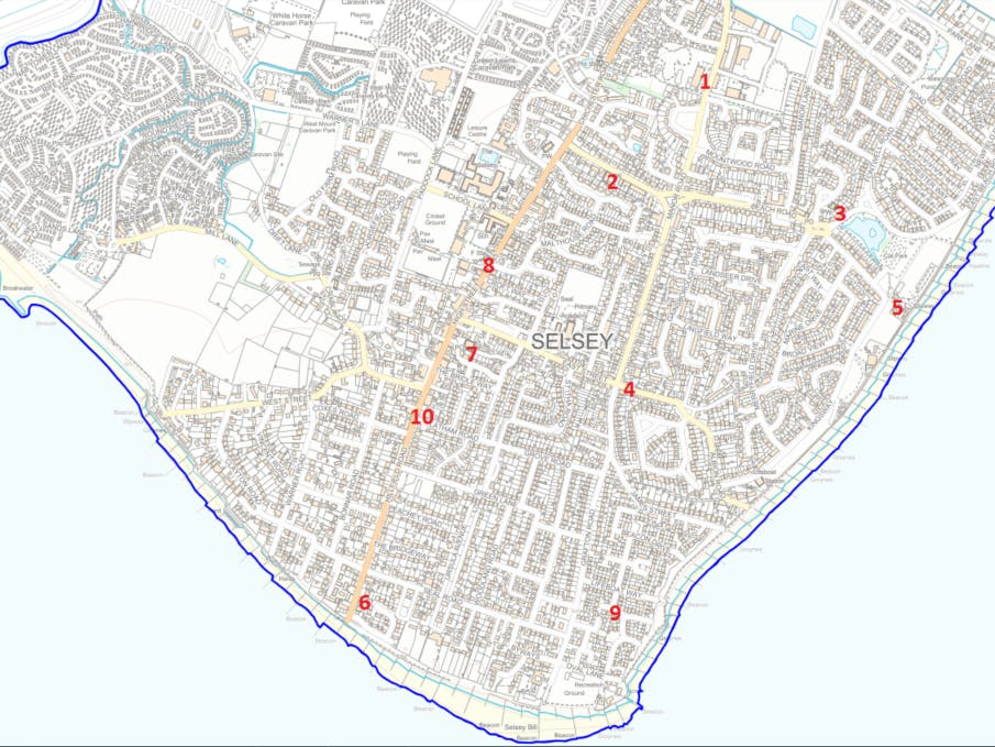 Map showing the location of public access defibrillators in Selsey