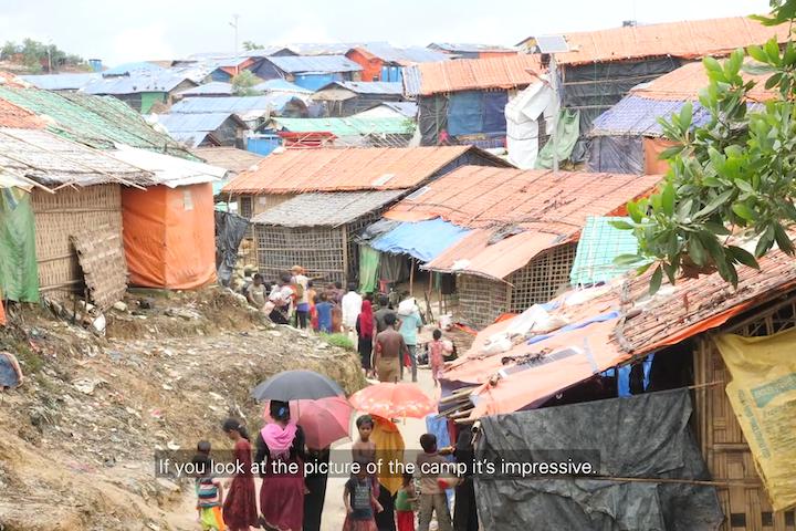 screenshot van videoclip Terre des Hommes over het Rohingya vluchtelingenkamp in Cox'Bazar, Bangladesh