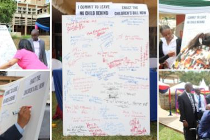 Kenyan parliamentarians signing the petition to enact the Children Bill