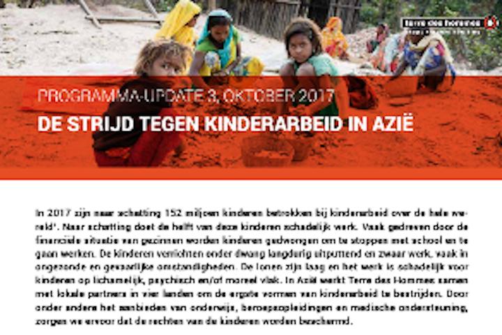 Programma update: Kinderarbeid in Azië 2017 Terre des Hommes