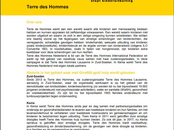 6 maanden rapportage Giro 555 actie 'Help slachtoffers hongersnood' Terre des Hommes