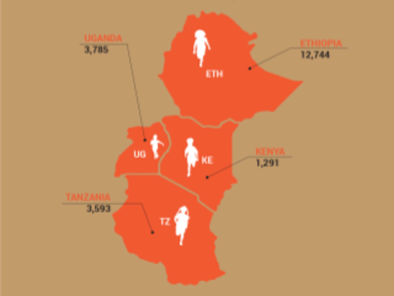 Terre des Hommes Netherlands East Africa map with children helped in 2016
