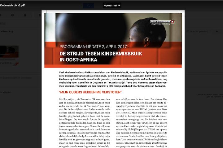 Programma update: Kindermisbruik Afrika april 2017
