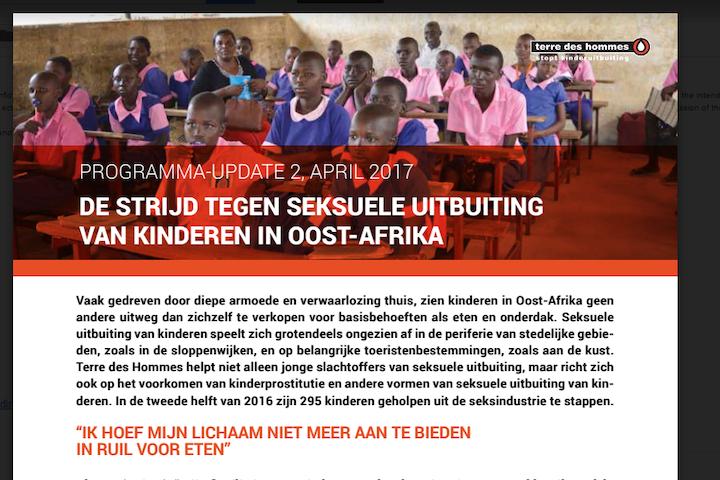 Programma update: Seksuele uitbuiting in Afrika 2017 Terre des Hommes