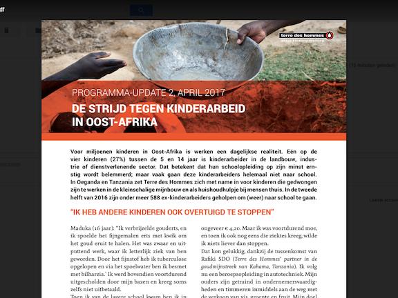 Programma update: Kinderarbeid in Afrika april 2017