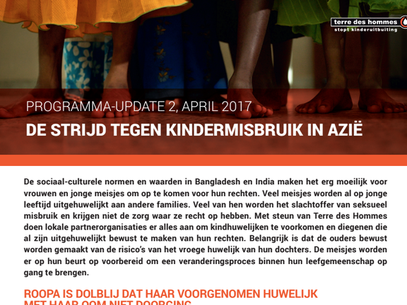 Programma update: Kindermisbruik in Azie april 2017