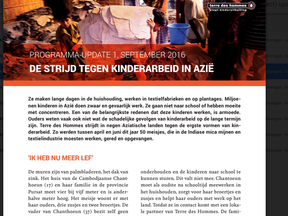Programma update: Kinderarbeid in Azie september 2016 Terre des Hommes