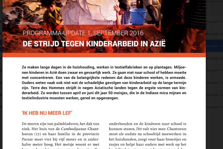 Programma update: Kinderarbeid in Azie september 2016 Terre des Hommes