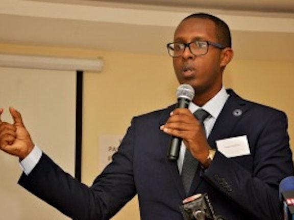 Guest of Honour Dr. Benyam Dawit Mezmur during his keynote speech