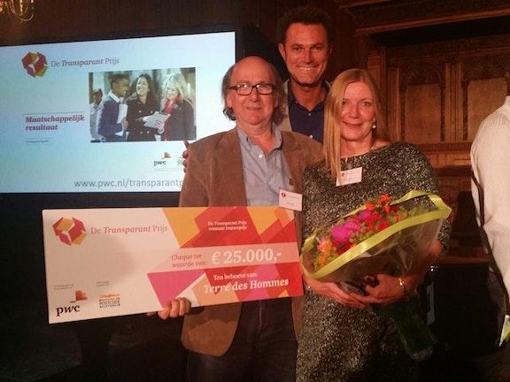 Terre des Hommes heeft met het Sweetie project de Transparant Prijs gewonnen in de categorie 'Meest impactvolle boegbeeldproject'. Aan de prijs is een bedrag verbonden van 25.000 euro.