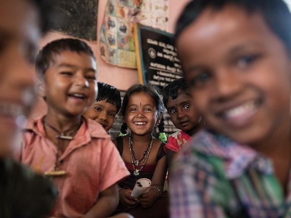 Smiling children in a schoolclass