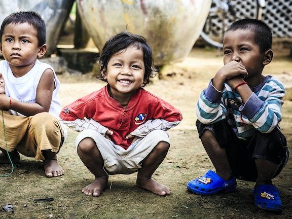 Children in Cambodia smiling
