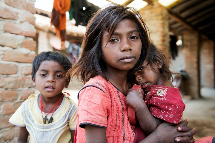 Children looking directly intro camera in India