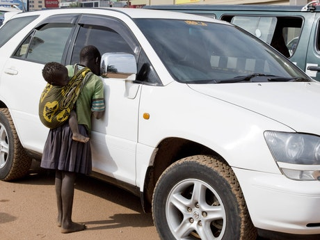 Trafficked Karamajong children begging on the streets of Kampala