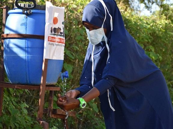 Girl washing her hands in Marsabit County, Kenya