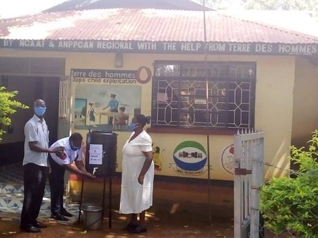 Handwashing station at the Child Protection Unit in Busia on the border with Uganda