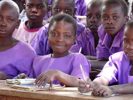 School children in Uganda before the COVID-19 outbreak
