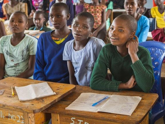 Girls in Masanga, Tanzania during an awareness class on FGM