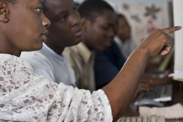 Girls in computer skills training in Tanzania