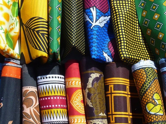 African fabrics in a shop