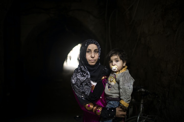 Moeder en kind in Libanon.