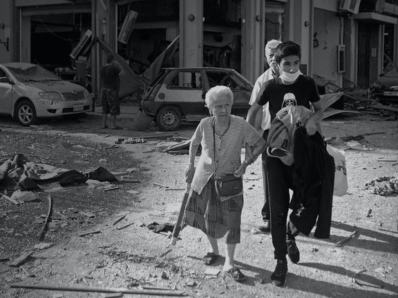Een groot deel van Beiroet is weggevaagd