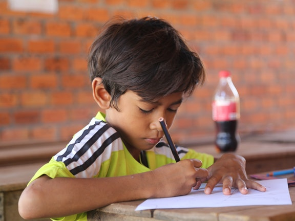 Cambodian Child Studying