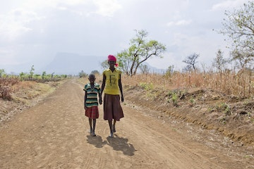 Child on the move in Napak district, Uganda