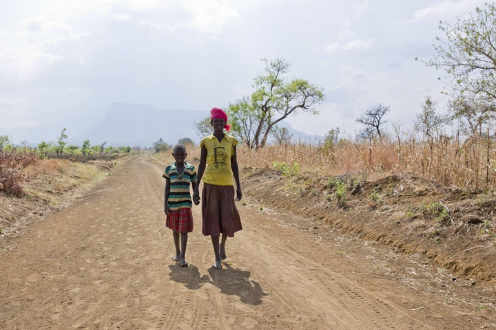 Child on the move in Napak district, Uganda