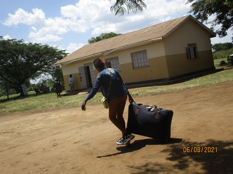 Girl arriving at the rehabilitation centre