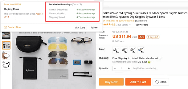 Checking product and supplier rating on AliExpress