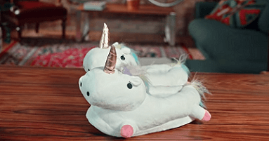 Melvin's second of five product recommendations is these unicorn slippers