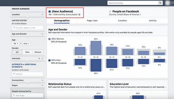 Using Facebook Audience Insights with targeting audience